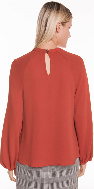 Shirts | Drapey Crepe Ruched Sleeve Top