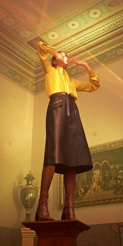 Skirts | Leather Midi Skirt