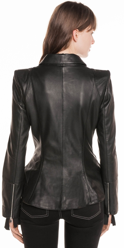 Jackets   Leather Biker Peplum Jacket