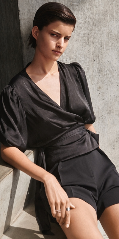 Shirts | Satin Wrap Top