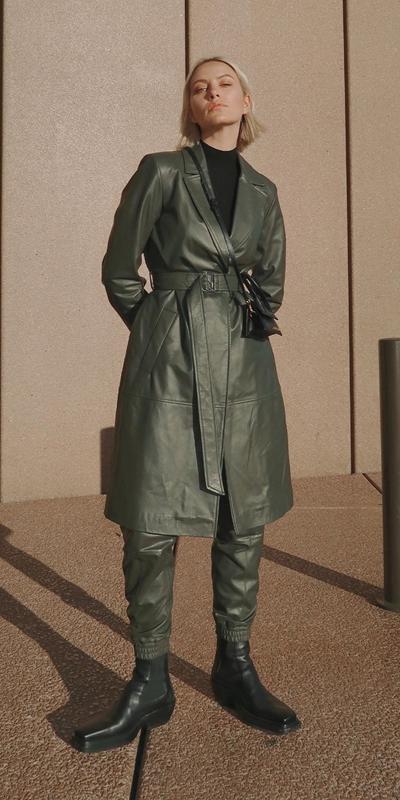 Coats | Khaki Leather Trench