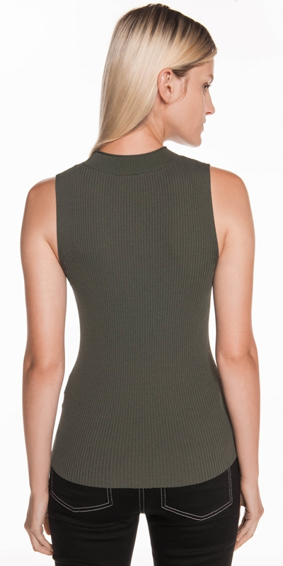 Knitwear | Ribbed Funnel Neck Tank