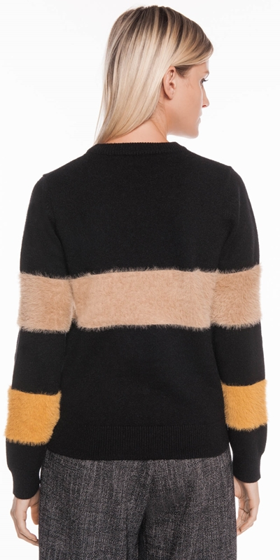 Knitwear | Fluffy Colour Block Sweater