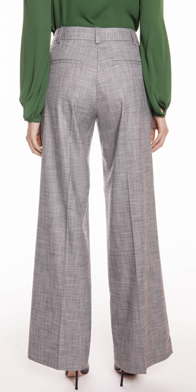 Pants | Grey Melange Wide Leg Pant