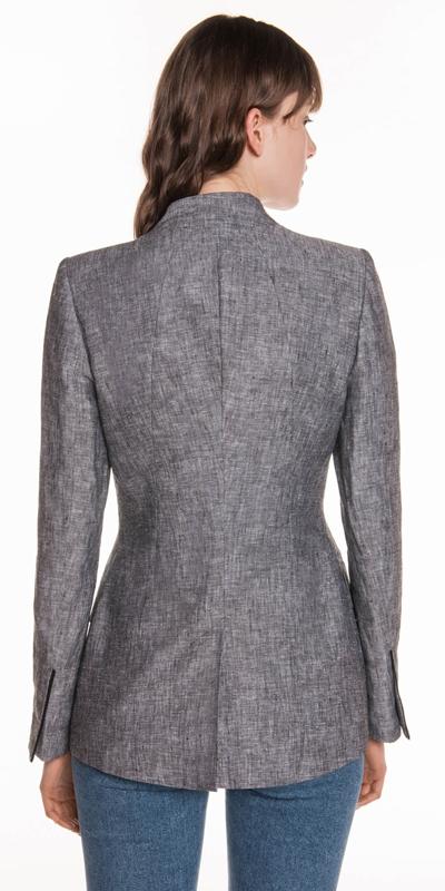 Jackets | Linen Raised Collar Notch Jacket