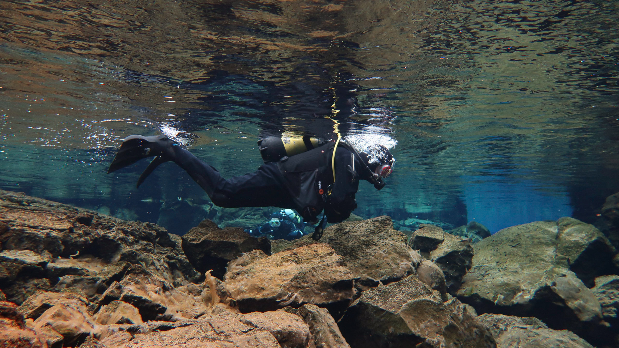 One of the shallow sections at Silfra Fissure in Thingvellir National Park, Iceland. Photo by Tania Roque of DIVE.IS