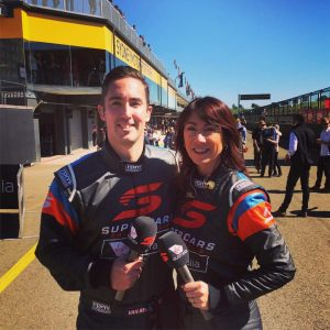 Kylie King pit reporting alongside Cameron van den Dungen for Fox Sports coverage of the Australian GT Championship