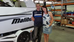 Enjoying a factory tour with my brother who is one of the Malibu Boats builders