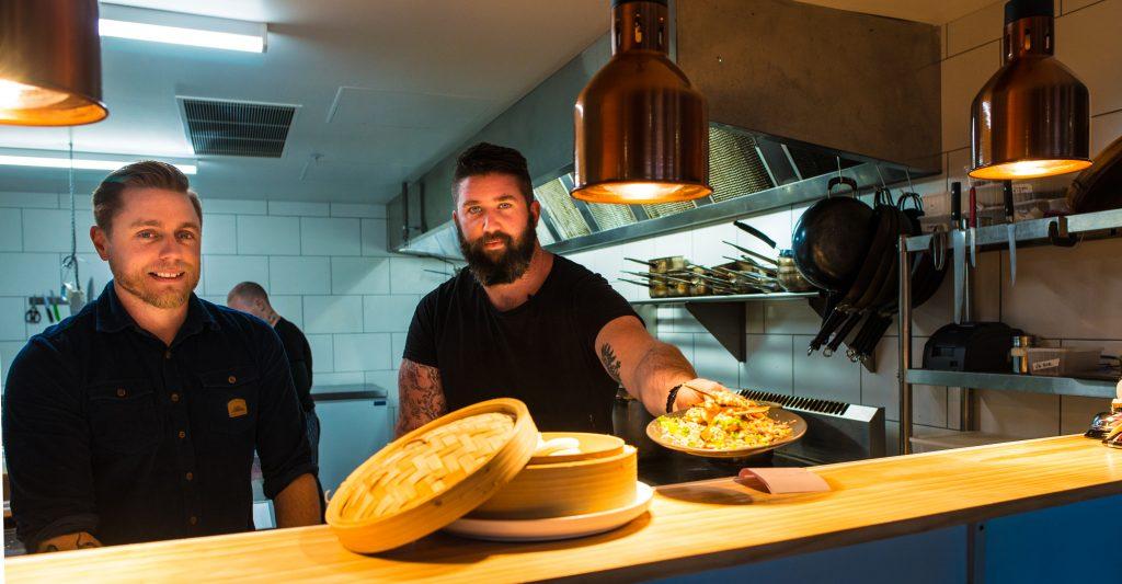 Ben with Din Dins head chef Andrew Scott.
