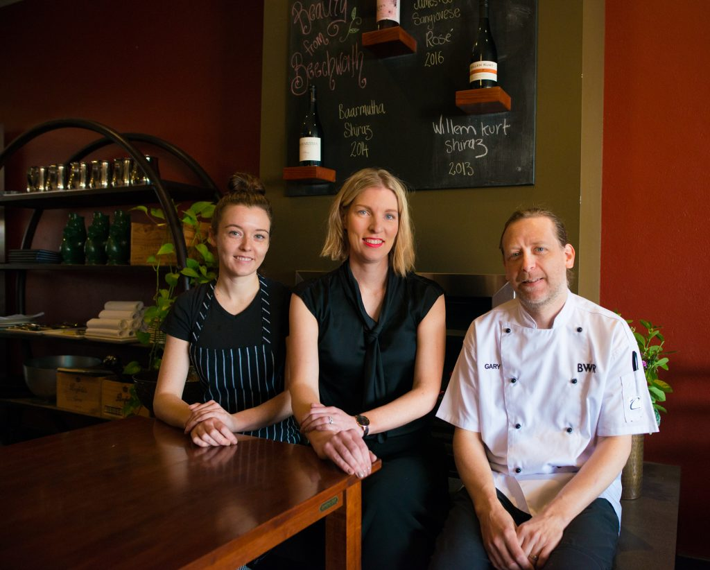 Sous chef Susan Radoicic, Owner Manager Kate Murray and Head Chef Gary Brogdale.