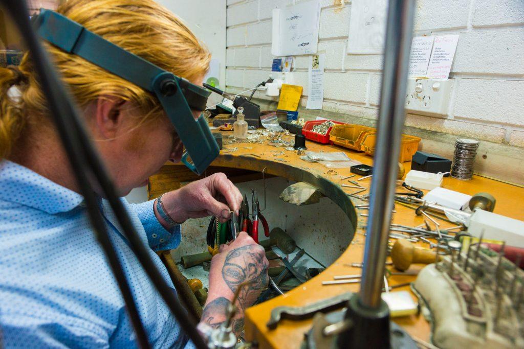 Brett Cummins, in his jewellery workshop.