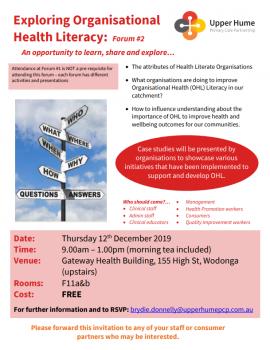 Exploring Organisational Health Literacy flyer