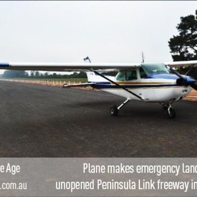 Plane makes emergency landing on the unopened Peninsula Link