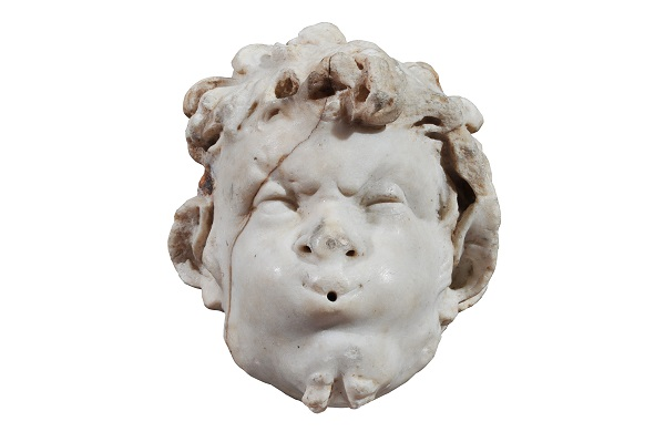 Fountain head in the form of a satyr from Pompeii, marble, 1st century AD.