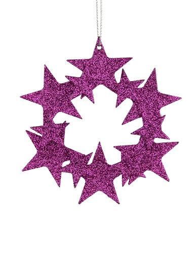Fuchsia Glittered Star Wreath Hanging Decoration - 10cm