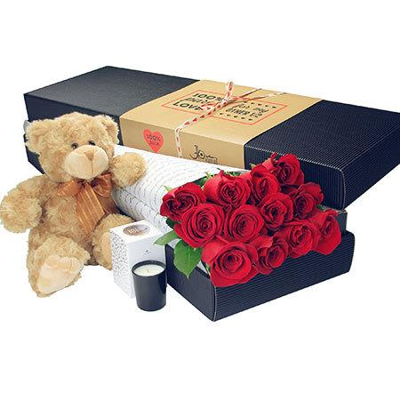 12 Long Stem Red Roses and Bear (Sydney Melbourne Perth Only)