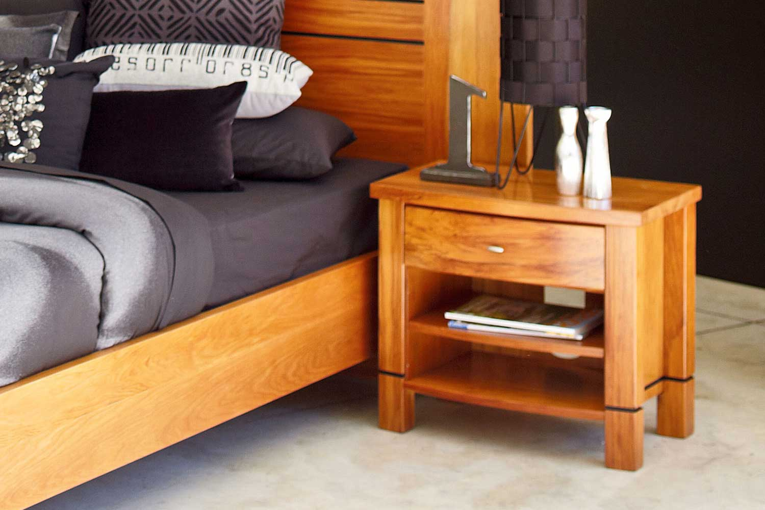 Vision Rimu DVD Bedside Table by Ezirest Furniture