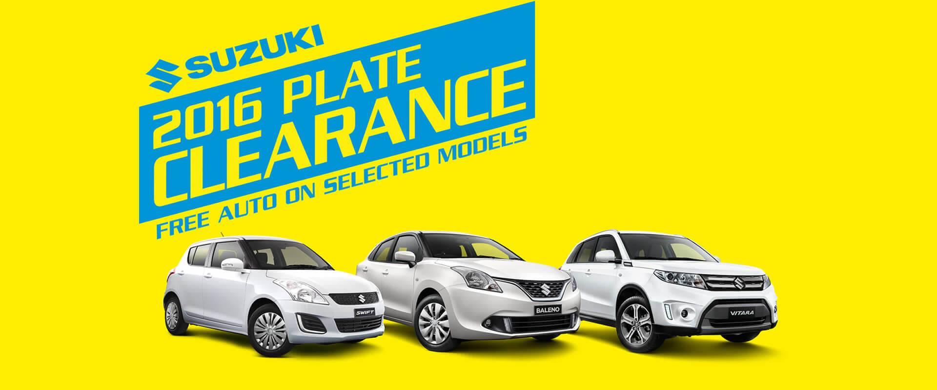 Suzuki Plate Clearance