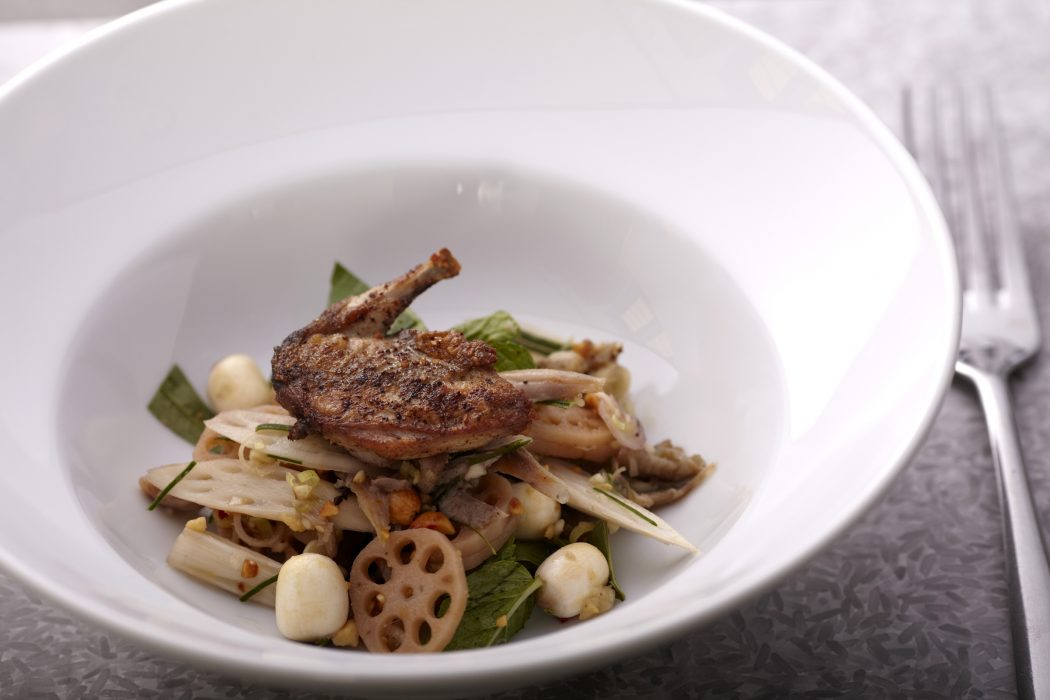 Cuisine  Wat  Damnak  Marinated Quail Salad With Lotus Root Stem And Seeds