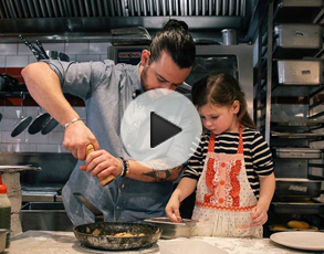 A video of Jordan Toft cooking with his daughter Bally.