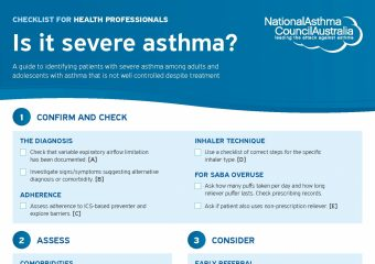 Severe Asthma Checklist Health Professionals