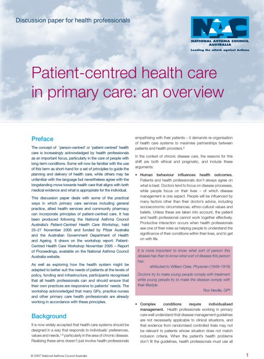 Patient Centred Health Care In Primary Care 1