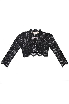 01.TP-S15J005-BLK  LACE SHRUG