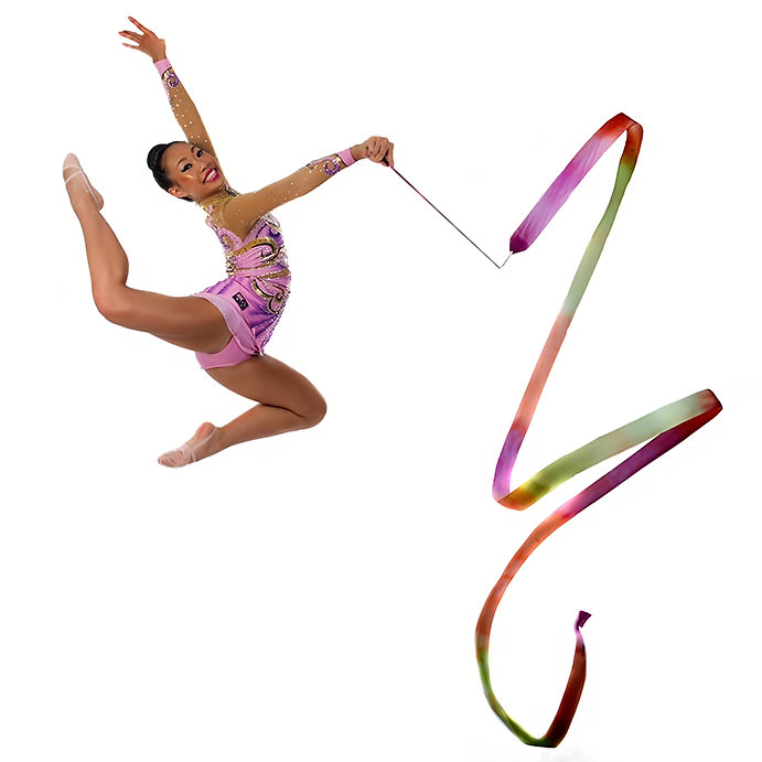 Dancer leaping with ribbon on white background