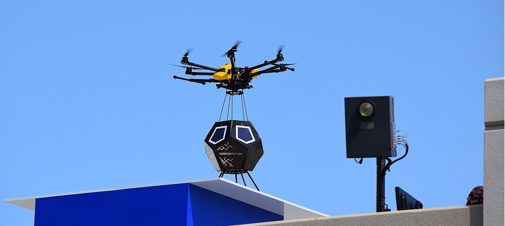Drone-and-drop small cell technology