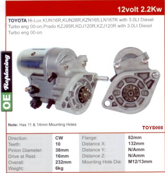 National Truck Spares - Toyota 1KZ-TE Starter Motor Hilux KZN165 1KZ