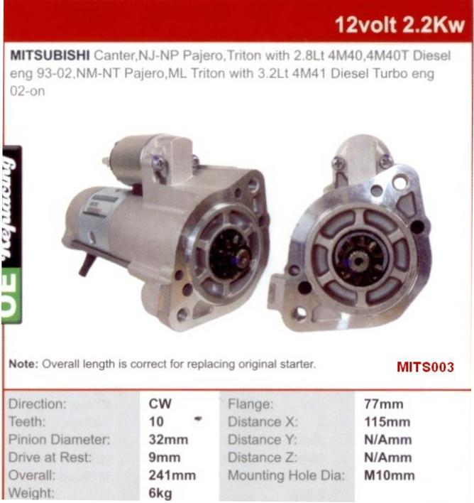 National Truck Spares - Mitsubishi 4M40 Starter Motor 4M40-OA Canter
