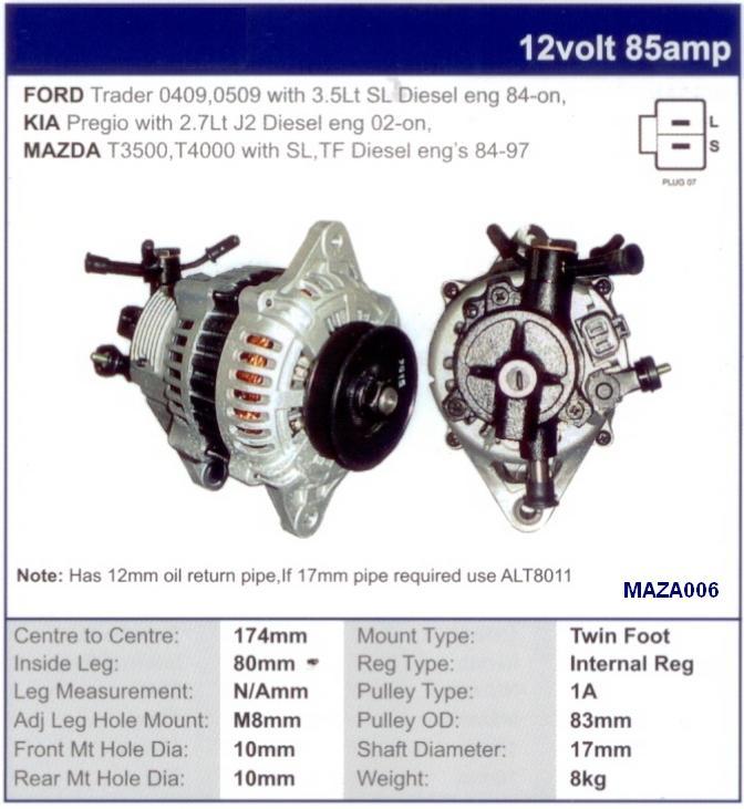 National Truck Spares - Mazda SL Alternator T3500