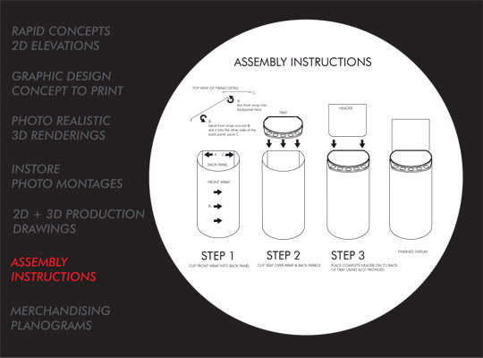 INDUSTRIAL DESIGN assembly instruction drawings