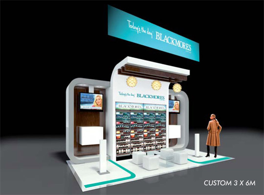 custom exhibition stand,trade show booth 6 x 3m with hanging fabric trade show banner
