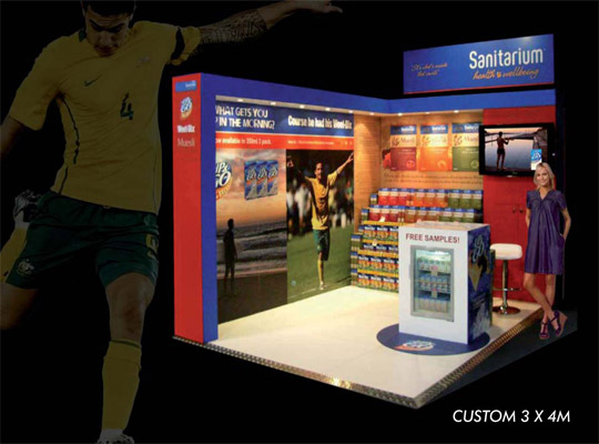 custom exhibition stand, trade show display 4 x 3m