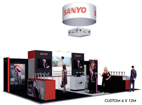 custom exhibition stand, trade show display 6 x 9m with fabric hanging trade show banner