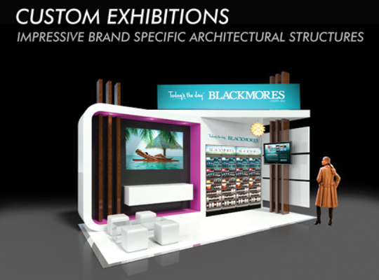 BLACKMORES CUSTOM 6 X 3M EXHIBITION STAND TITLE PAGE