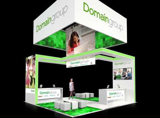 DOMAIN GROUP, CUSTOM EXPO STAND, FAIRFAX MEDIA EXHIBITION STAND BY SKYZALIMIT DESIGN, RIGGED BANNER, FABRIC PRINT