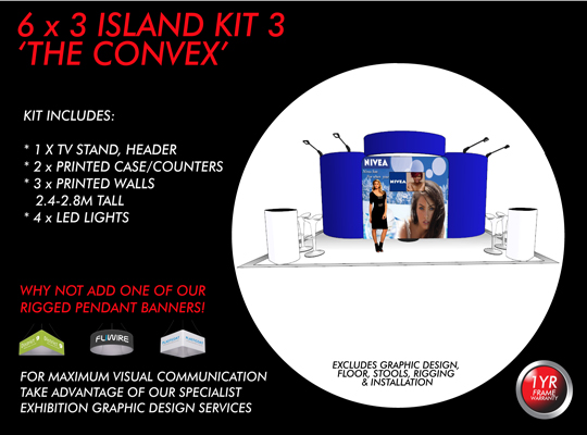 POP UP FABRIC EXHIBITION AND TRADE SHOW DISPLAYS AND BOOTHS 6 X 3
