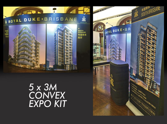 royalduke brisbane 5 x 3m pop up fabric trade show display by skyzalimit design