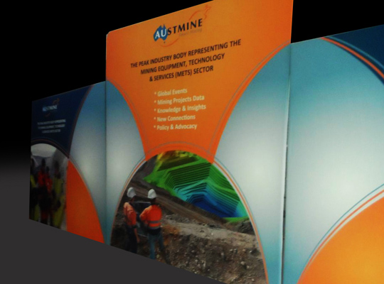 AUSTMINE EXHIBITION PRINTS, TENSION FABRIC TRADE SHOW WALLS -SKYZALIMIT DESIGN