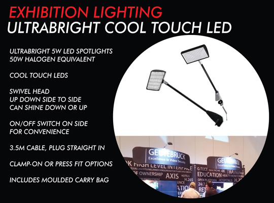 LED EXHIBITION LIGHTING, TRADE SHOW  DISPLAY LIGHTS, LED SPOTLIGHTS FOR TRADE SHOWS AND MEDIA WALLS