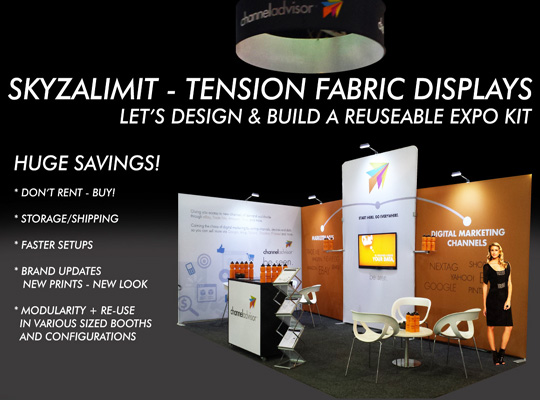 TENSION FABRIC EXPO, EXHIBITION TRADE SHOW DISPLAY KIT- DIY EXPO KITS, REUSEABLE EXPO KITS - SKYZALIMIT DESIGN