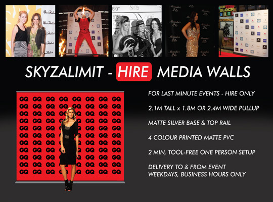MEDIA WALL HIRE SYDNEY, PULL UP BANNER