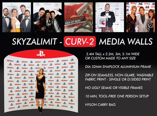 CURV MEDIA WALL, MEDIA WALLS, RED CARPET BACKDROP, STEP AND REPEAT BANNER