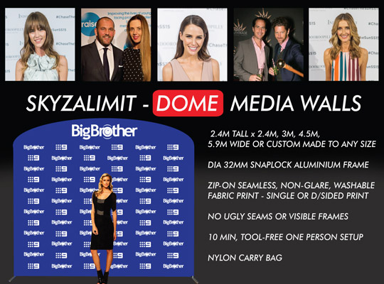 DOME MEDIA WALL, MEDIA WALLS, RED CARPET BACKDROP, STEP AND REPEAT BANNER