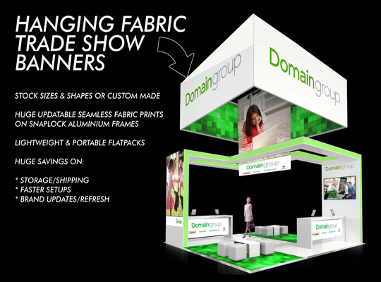 HANGING FABRIC TRADE SHOW BANNERS AND EXHIBITION SIGNS AND DISPLAYS- TITLE PAGE