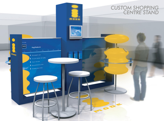 custom exhibition stand,hopping centre island booth 3 x 3m with hanging fabric trade show banners