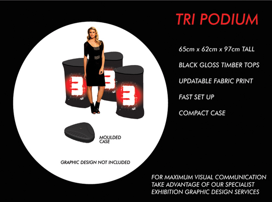 TRIANGULAR PODIUM, POP UP TRADE SHOW DISPLAY