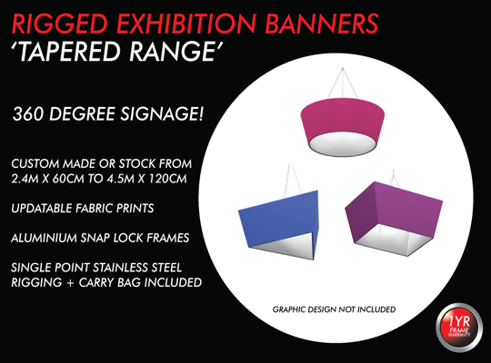 3 HANGING TRADE SHOW BANNER - TAPERED BANNERS, POPUP BANNERS,EXPO SIGNAGE, REUSABLE EXHIBITION BANNER, FABRIC PENDANT BANNER, CEILING HUNG BANNER